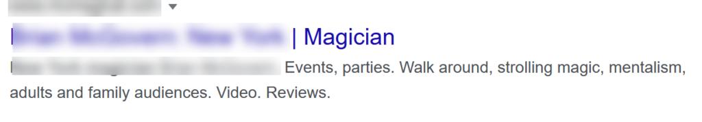 Example of less effective meta data description for a magician.