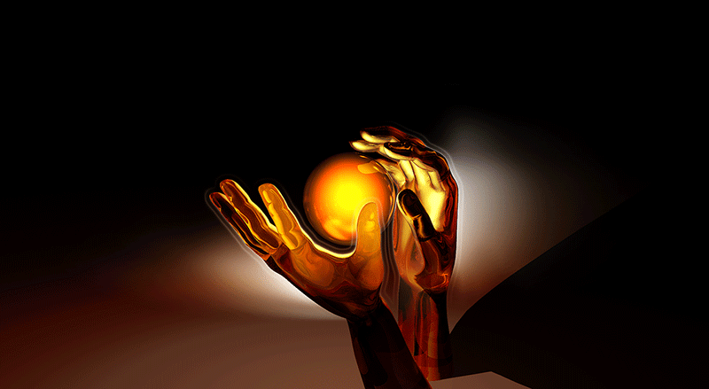 image of magic hands around gold globe